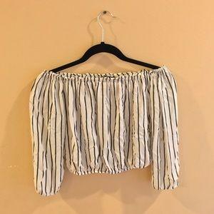 Off Shoulder Striped  brandy shirt